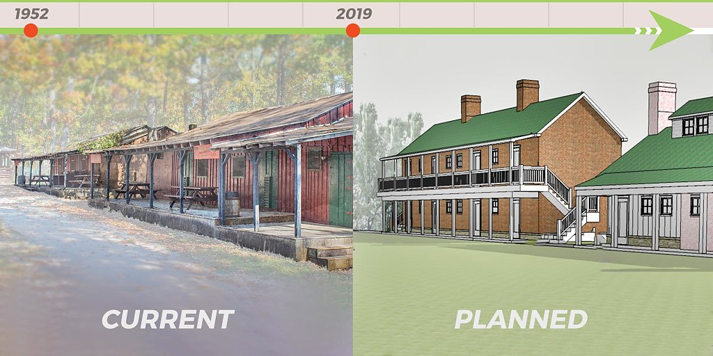 Current Fort Roller cabins beside artist rendering of new cabins.
