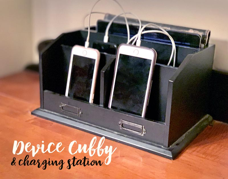 device cubby and phone charging station