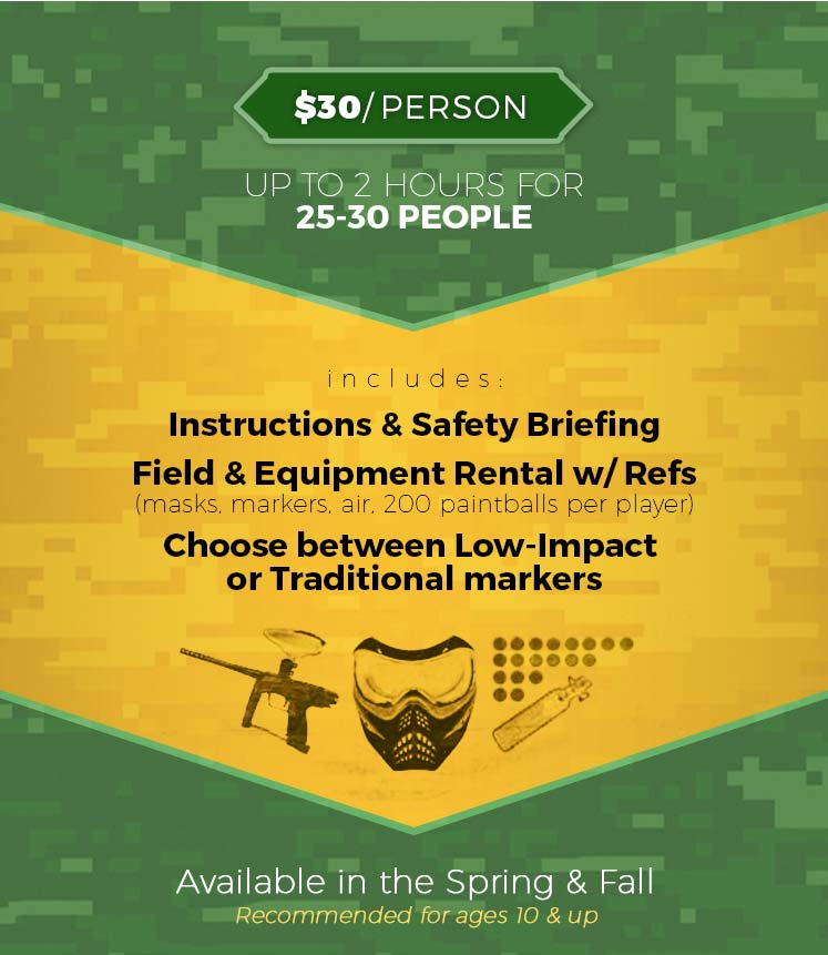 Paintball Group Rates | $30 Per Person