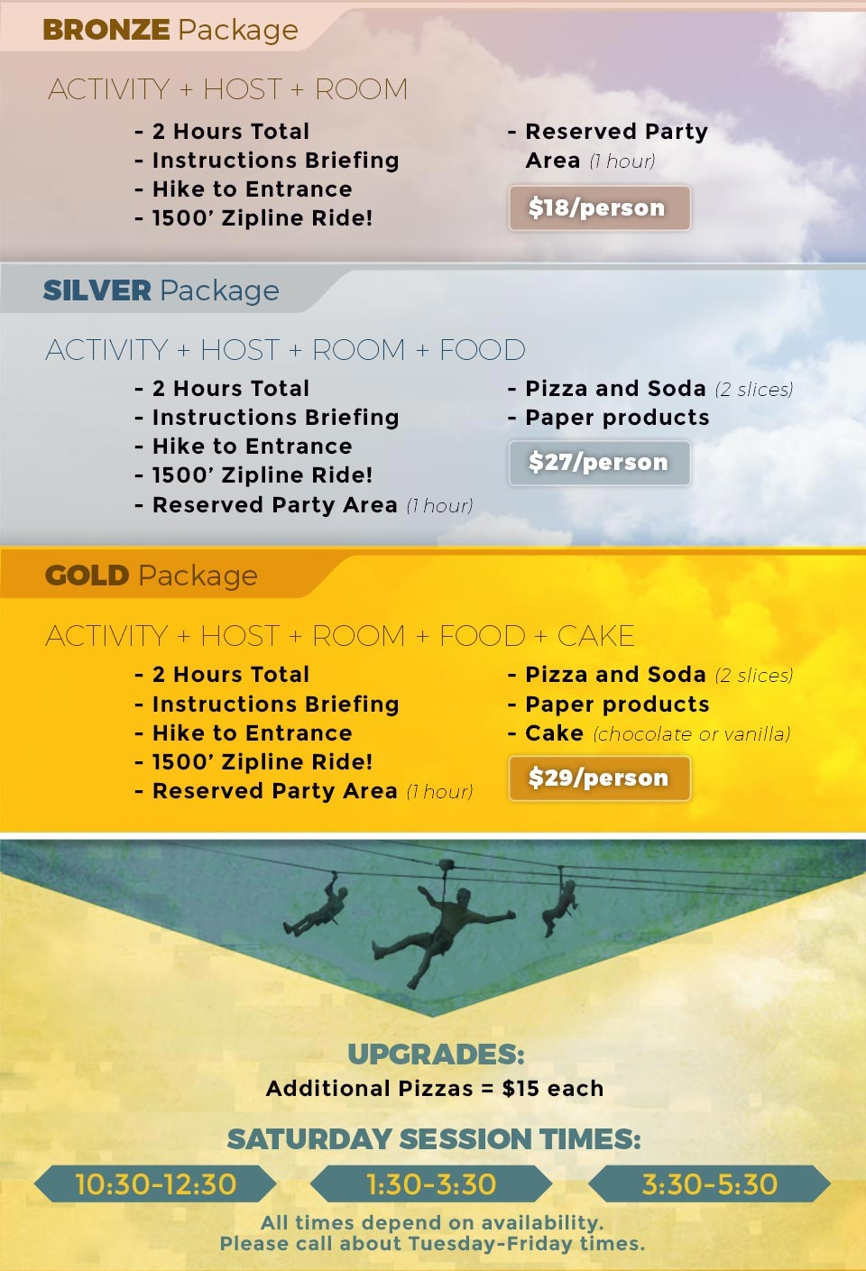Zipline Birthday Party Packages
